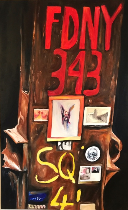 "Memorial 2001 (oil paint, 30"" x 48"") - $400"